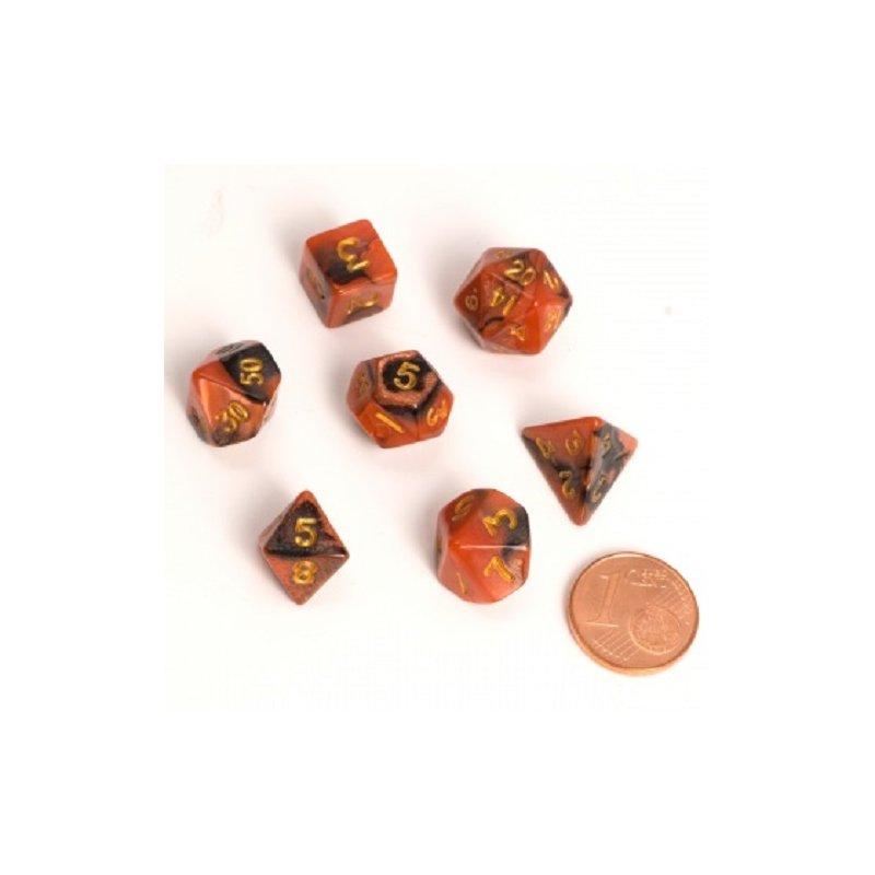 Blackfire Dice Fairy Dice Rpg Set Bicolor Black Orange 7 Dice