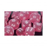 ** % SALE % ** Frosted Polyhedral Pink w/white 12xW6 16mm...