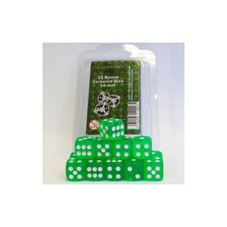 Blackfire Dice - 16mm D6 Dice Set - Transparent Light Green (15)
