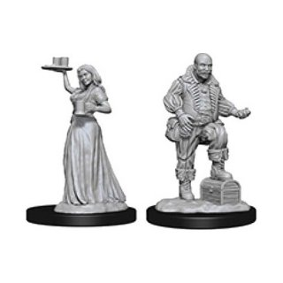 Merchants (Serving Girl and Merchant): Pathfinder Deep Cuts Unpainted Minis